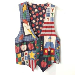 Art to wear Fall Vest hand Made patch work Vintage